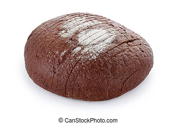 black sliced bread close-up on a white background white background isolated