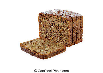 black sliced bread with sunflower seeds on white isolated background