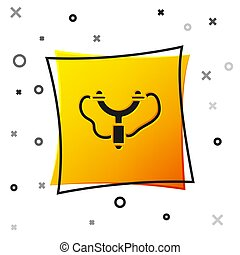 Black Slingshot icon isolated on white background. Yellow square button. Vector