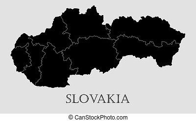 Black Slovakia map - vector illustration