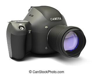 Black SLR camera isolated on white
