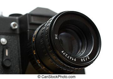 black slr camera with lens close-up