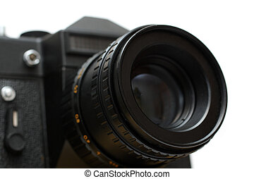 black slr camera with lens close-up isolated on white