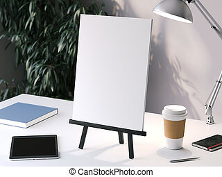 Black small easel with blank frame. 3d rendering
