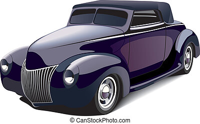 black smart hot rod - vectorial image of black smart car,...