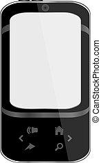 black smart phone with grey display