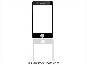 Black smart phone with touch screen blank isolated on white background
