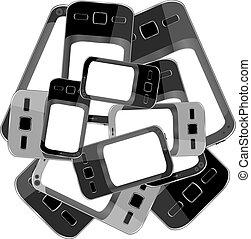 Black smart phones set on white background