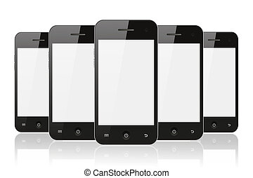 Black smart phones with reflection on white background