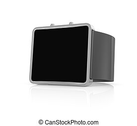 Black smart watch on white background