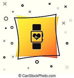 Black Smart watch showing heart beat rate icon isolated on white background. Fitness App concept. Yellow square button. Vector Illustration