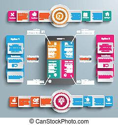 Black Smartphone 4 Options Big Infographic 2 Circle Banners