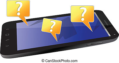 Black Smartphone and Question Mark isolated on white