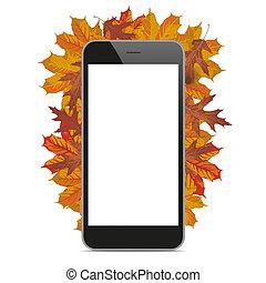 Black Smartphone Autumn Foliage