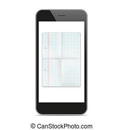 Black Smartphone Checked Folded Paper Mockup
