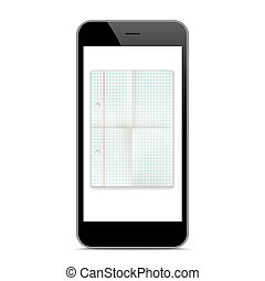Black Smartphone Checked Folded Paper Mockup