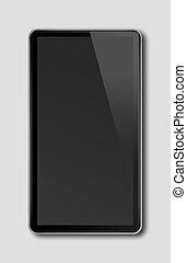 Black smartphone, digital tablet pc template isolated on dark grey