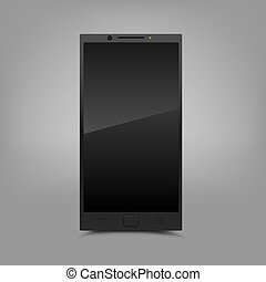 Black smartphone gray background