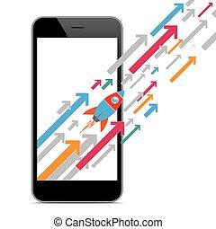 Black Smartphone Growth Arrows Rocket