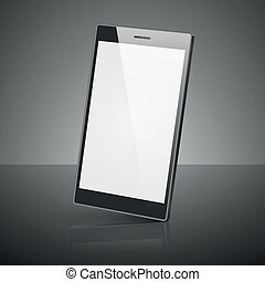 Black smartphone isolated on white background.