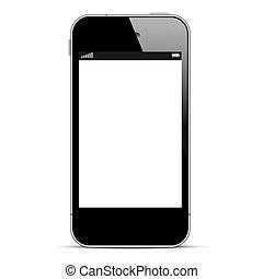 Black smartphone isolated on white background