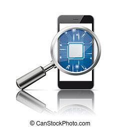 Black Smartphone Loupe Microchip Mirror