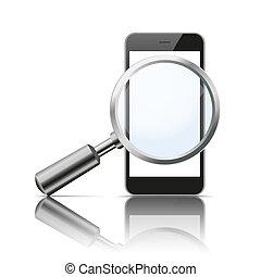 Black Smartphone Loupe Mirror Mockup