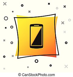 Black Smartphone, mobile phone icon isolated on white background. Yellow square button. Vector Illustration