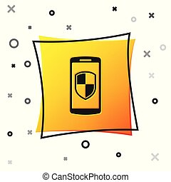 Black Smartphone, mobile phone with security shield icon isolated on white background. Yellow square button. Vector Illustration