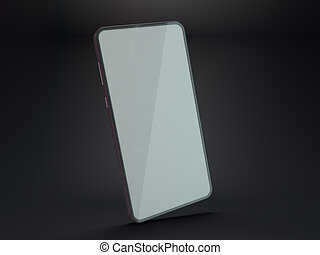 Black smartphone mockup on dark background. 3D