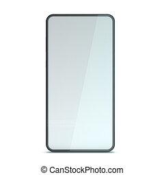 Black smartphone mockup on white background. 3D