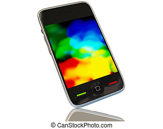 phone - black smartphone on white background