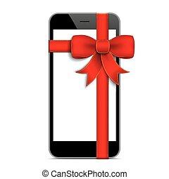 Black Smartphone Red Gift Ribbon