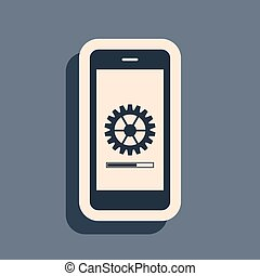 Black Smartphone update process with gearbox progress and loading bar icon isolated on grey background. System software update and upgrade concept. Long shadow style. Vector Illustration