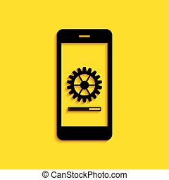 Black Smartphone update process with gearbox progress and loading bar icon isolated on yellow background. System software update and upgrade concept. Long shadow style. Vector