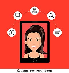 black smartphone with a woman in the screen and shopping stuff a