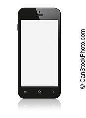 Black Smartphone with blank screen on white background