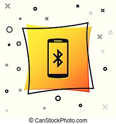 Black Smartphone with bluetooth symbol icon isolated on white background. Yellow square button. Vector Illustration