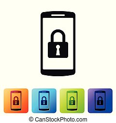 Black Smartphone with closed padlock icon isolated on white background. Phone with lock. Mobile security, safety, protection concept. Set icon in color square buttons. Vector Illustration