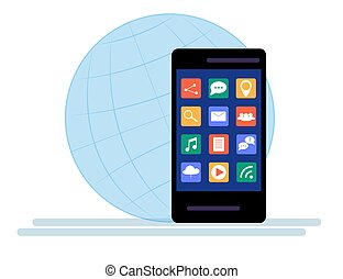 Black Smartphone with cloud of application icons Isolated on white background.