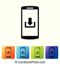 Black Smartphone with download icon isolated on white background. Set icon in color square buttons. Vector Illustration