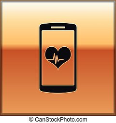 Black Smartphone with heart rate monitor function icon isolated on gold background. Vector Illustration