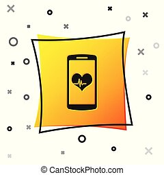 Black Smartphone with heart rate monitor function icon isolated on white background. Yellow square button. Vector Illustration