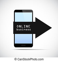 black smartphone with online business arrow