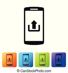 Black Smartphone with upload icon isolated on white background. Set icon in color square buttons. Vector Illustration