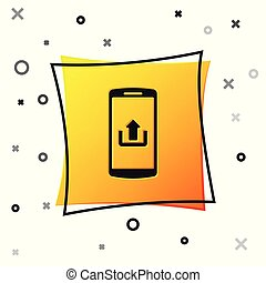 Black Smartphone with upload icon isolated on white background. Yellow square button. Vector Illustration