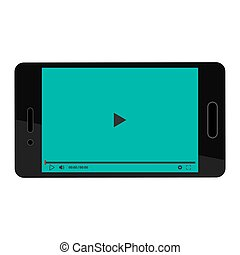 Black smartphone with video player on blue background. Play icon. Black tablet on white background