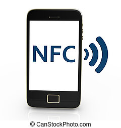 NFC - Black smartphone with white NFC Symbol,on white...