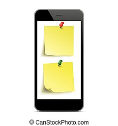 Black Smartphone Yellow Stickers Mockup
