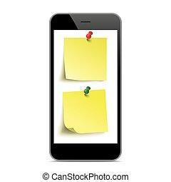 Black Smartphone Yellow Stickers Mockup